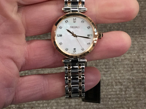Seiko Ladies Dress Watch Mother Of Pearl Dial With Diamonds