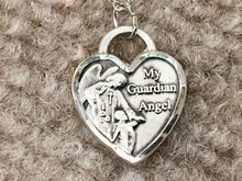 Load image into Gallery viewer, Guardian Angel Silver Heart Pendant With Chain Religious