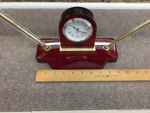 Wooden Mantel Desk Clock With Pens