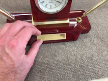 Load image into Gallery viewer, Wooden Mantel Desk Clock With Pens