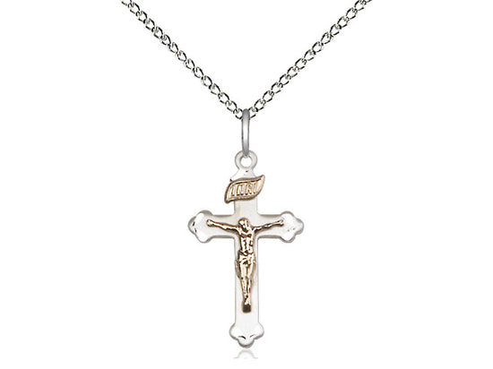Gold Filled And Silver Crucifix With Chain