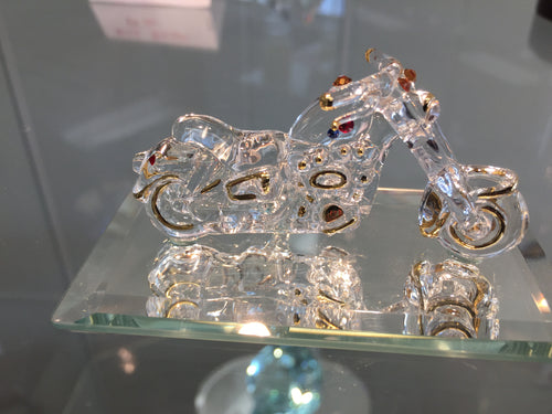 Motorcycle Glass Figurine