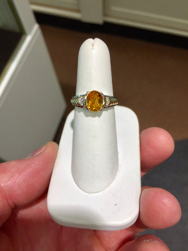 Citrine And Diamond 14 K White And Yellow Gold Ring