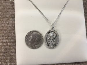 Saint Agatha Nurse Silver Pendant With Chain Religious