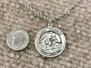 Saint Anthony Silver Pendant With 24 Inch Silver Rope Chain Religious