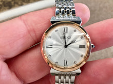 Load image into Gallery viewer, Seiko Women's Rose Gold And Silver Color Swarovski Crystals