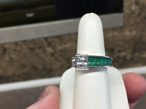 Silver Green Onyx And Cubic Zirconia Ring By John Kennedy
