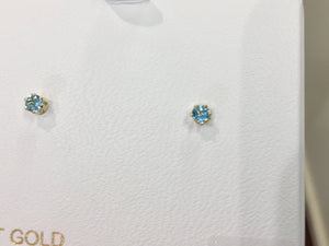 Blue Topaz 14 K Gold Small Stud Earrings