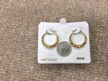 Load image into Gallery viewer, Diamond Cut Gold Hoop Earrings