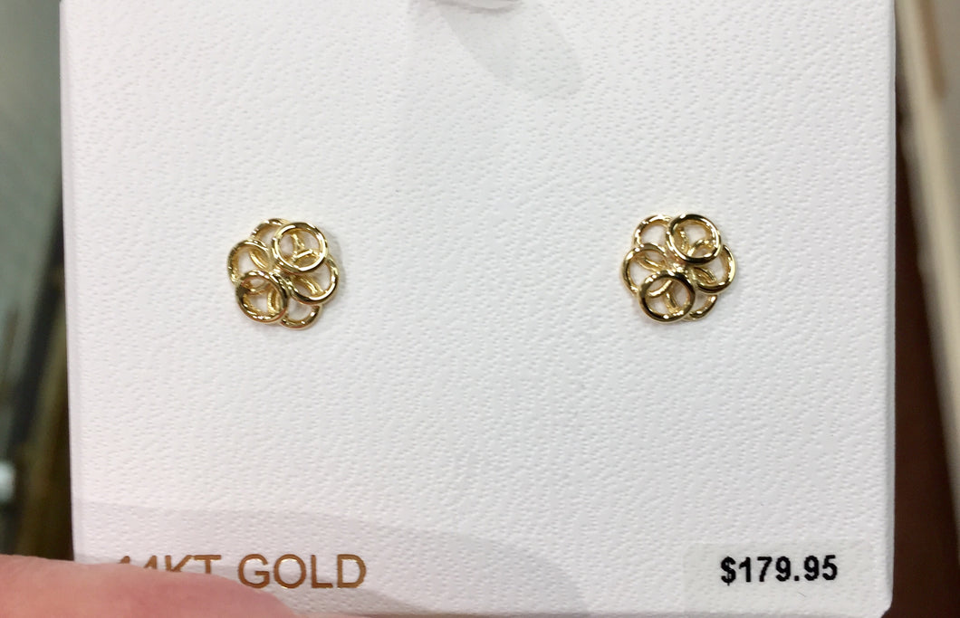 14 K Yellow Gold Knot Small Stud Earrings