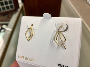 Gold Triangular Wire Weave Earrings