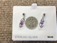Load image into Gallery viewer, Caged Amethyst Sterling Silver Dangle Stud Earrings