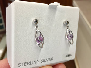 Caged Amethyst Sterling Silver Dangle Stud Earrings