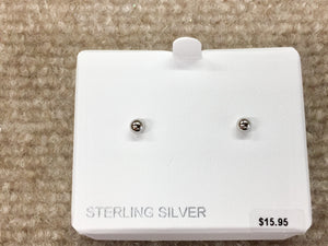 Small Silver Ball Stud Earrings