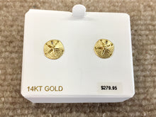 Load image into Gallery viewer, Sand Dollar 14K Yellow Gold Earrings