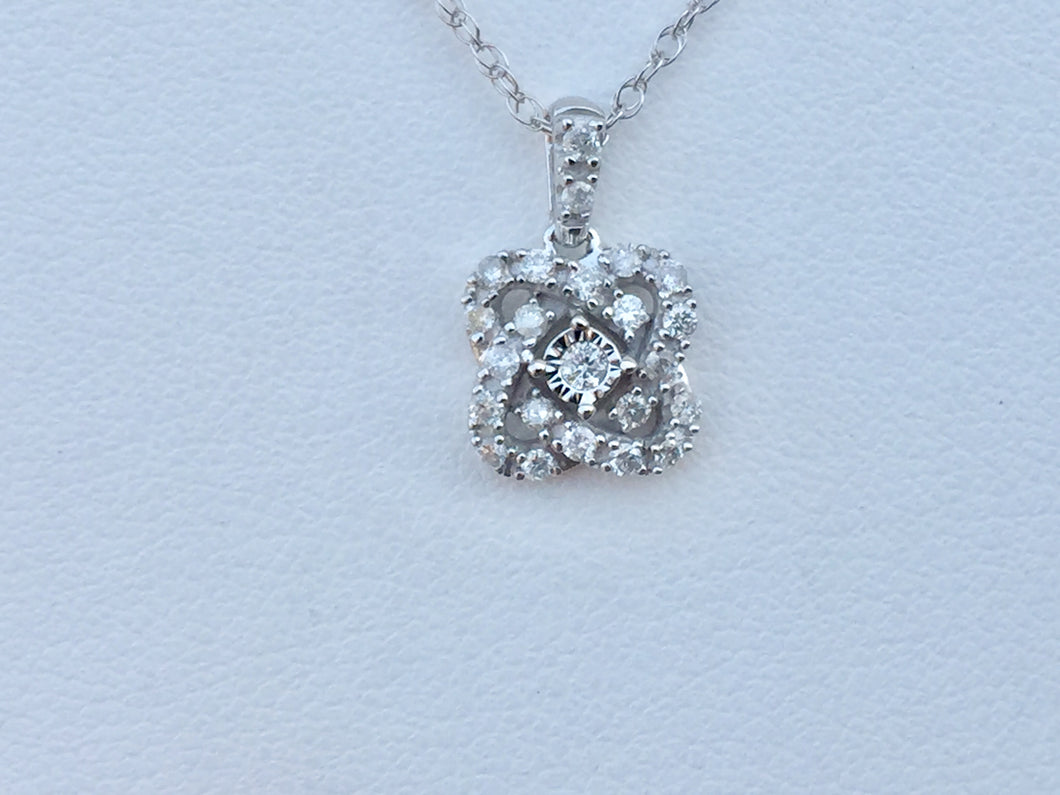 Diamond Silver Pendant With Chain