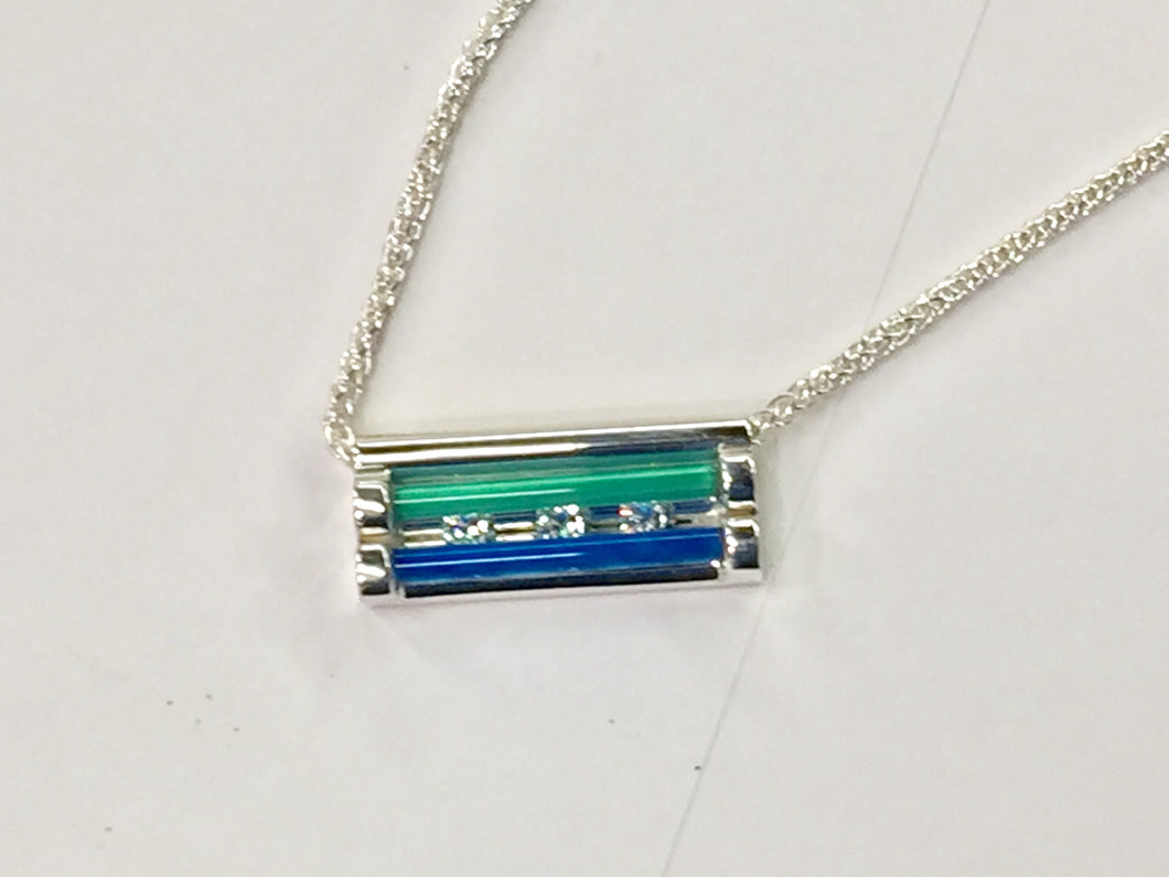 Blue And Green Onyx Silver Bar Necklace