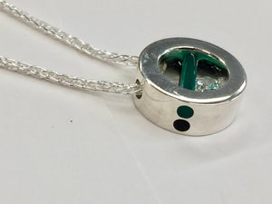 Silver Green And Black Onyx Cubic Zirconia Pendant
