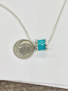 Glacier Blue Onyx Silver Pendant Adjustable Chain