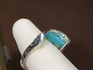 Glacier Blue Onyx And Lavender Cubic Zirconia Silver Ring