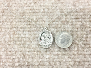 Saint Joseph Silver Pendant With 18 Inch Chain Religious