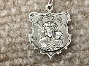 Our Lady Of Czestochowa Silver Pendant With Chain Religious