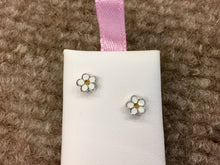 Load image into Gallery viewer, Flower Silver Baby Earrings Threaded Backs