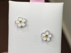 Flower Silver Baby Earrings Threaded Backs