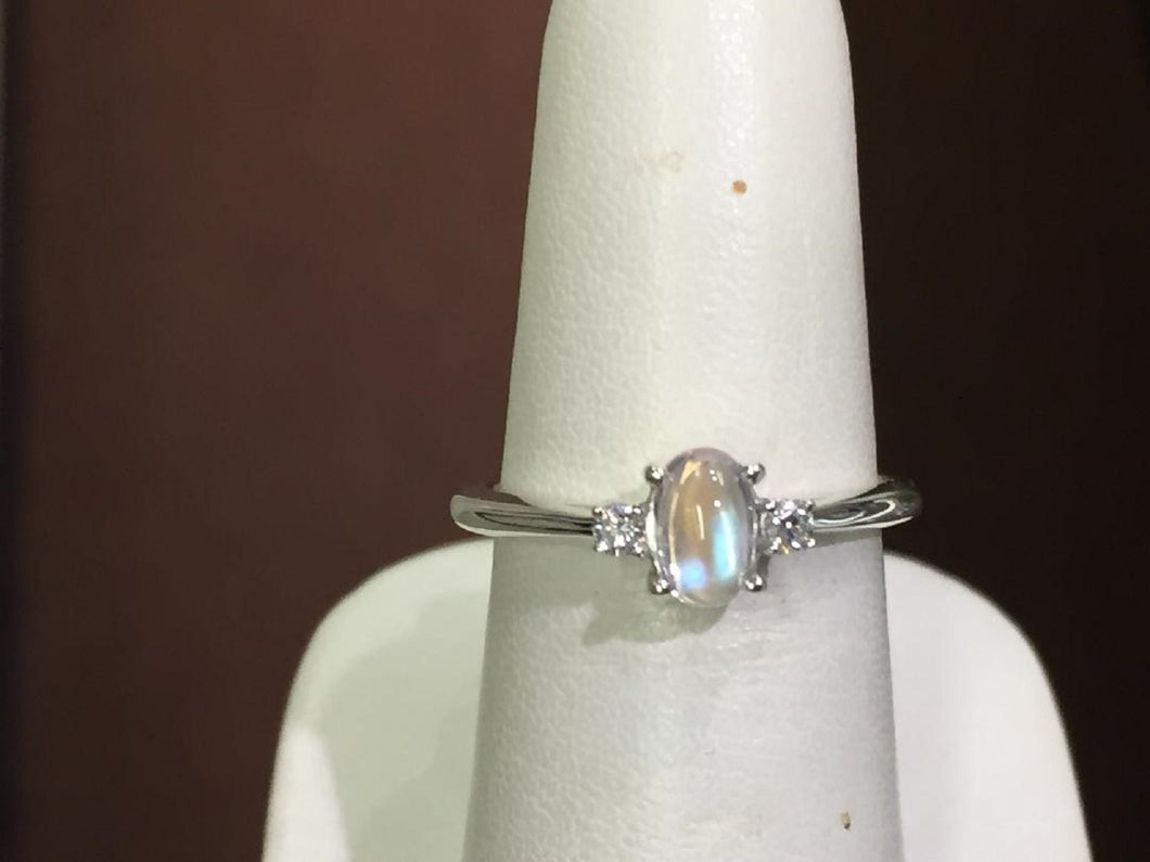 Rainbow Moonstone & Diamond Silver Ring