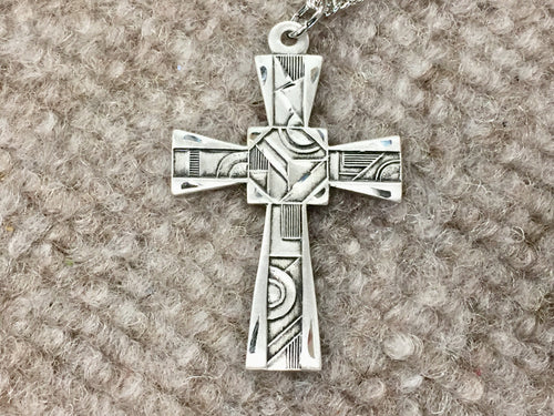 Mosaic Silver Cross With Chain Religious