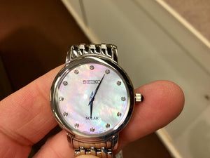 Seiko Women's Solar Watch Mother Of Pearl Dial