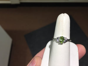 Peridot And Diamond White Gold Ring