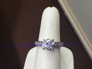 14 k Gold Diamond Engagement Ring Mounting Side Diamonds Included