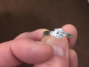 14 K White Gold Engagement Ring Mounting Center Stone Sold Separately