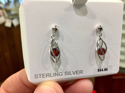 Silver Caged Garnet Dangle Earrings