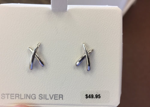 Silver Geometric (X) Stud Earrings