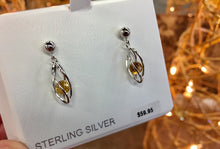 Load image into Gallery viewer, Silver Caged Citrine Dangle Earrings