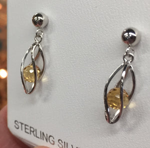Silver Caged Citrine Dangle Earrings