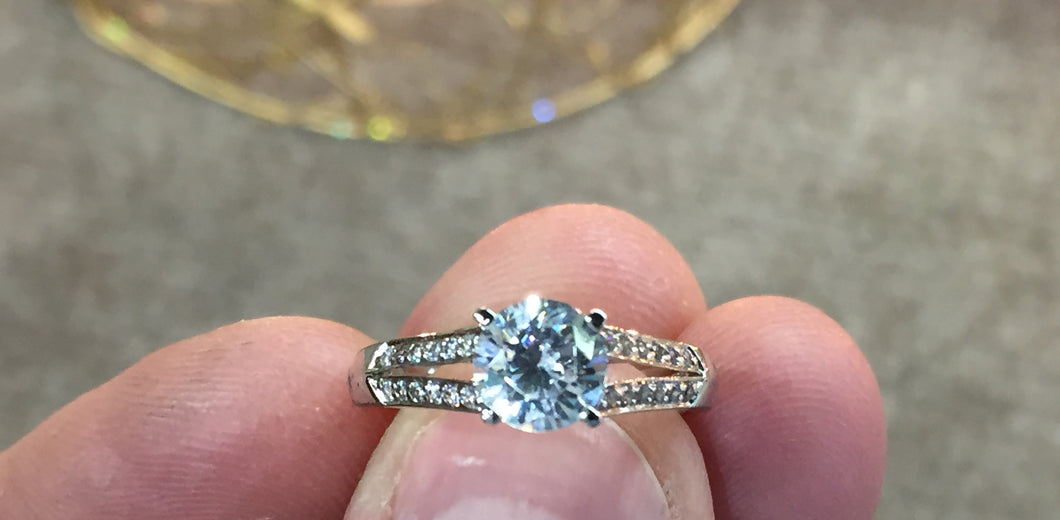 14 K Gold Engagement Ring Mounting (Center Stone Sold Separately)