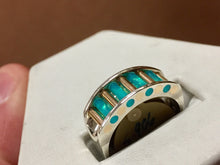 Load image into Gallery viewer, Glacier Blue Onyx Silver And Gold Ring