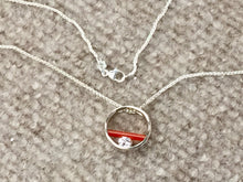 "Load image into Gallery viewer, Carnelian And Cubic Zirconia Sterling Silver Pendant And 18""Chain"
