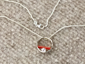 "Carnelian And Cubic Zirconia Sterling Silver Pendant And 18""Chain"