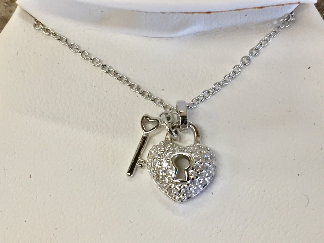 Silver Key To Your Heart Pendant With Chain