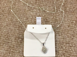 Silver Diamond Pendant With 18 Inch Chain