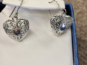 Silver Filigree Heart Dangle Earrings