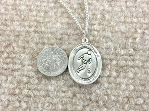 Saint Christopher Silver Soccer / Football Pendant With Chain