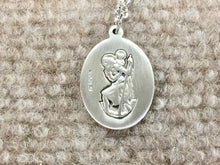 Load image into Gallery viewer, Saint Christopher Silver Soccer / Football Pendant With Chain