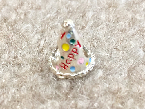 Happy Birthday Hat Silver Reflection Bead
