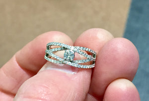 Diamond Ring 14 K White Gold 0.55 Carats