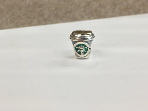 Coffee Cup Silver Bead